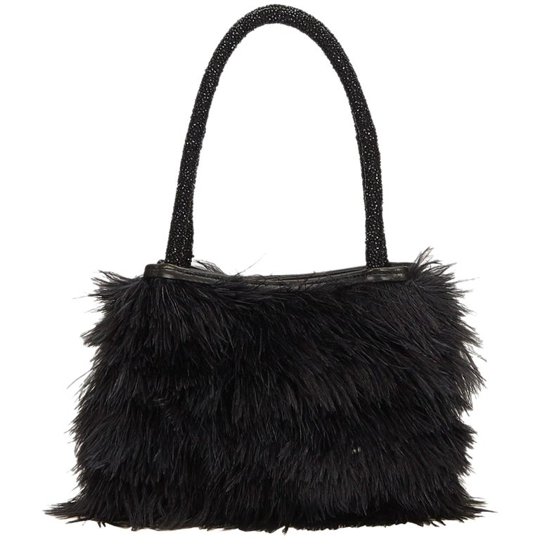Gucci Black Beaded Feather Tote