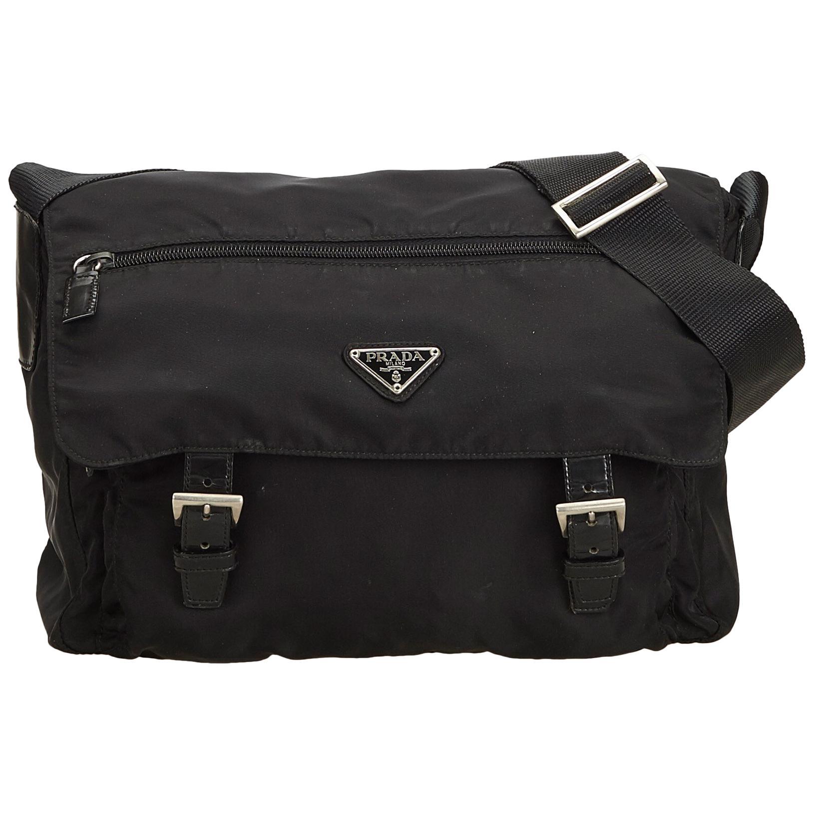 63742b58d2e ... release date prada black tessuto nylon messenger bag for sale 70cd2  edb34 authentic prada tessuto messenger bag tessuto nylon lxrandco pre  owned luxury ...