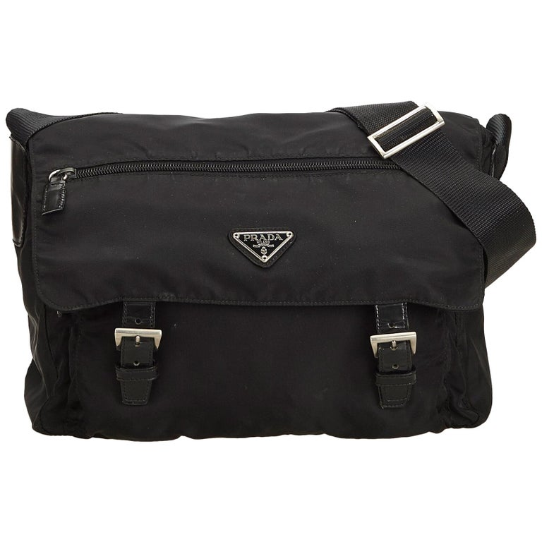cf06992c3fb716 Prada Black Tessuto Nylon Messenger Bag at 1stdibs