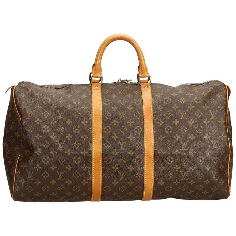 Louis Vuitton Brown Monogram Keepall 55 For Sale