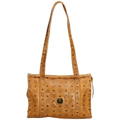 MCM Brown Visetos Leather Tote Bag