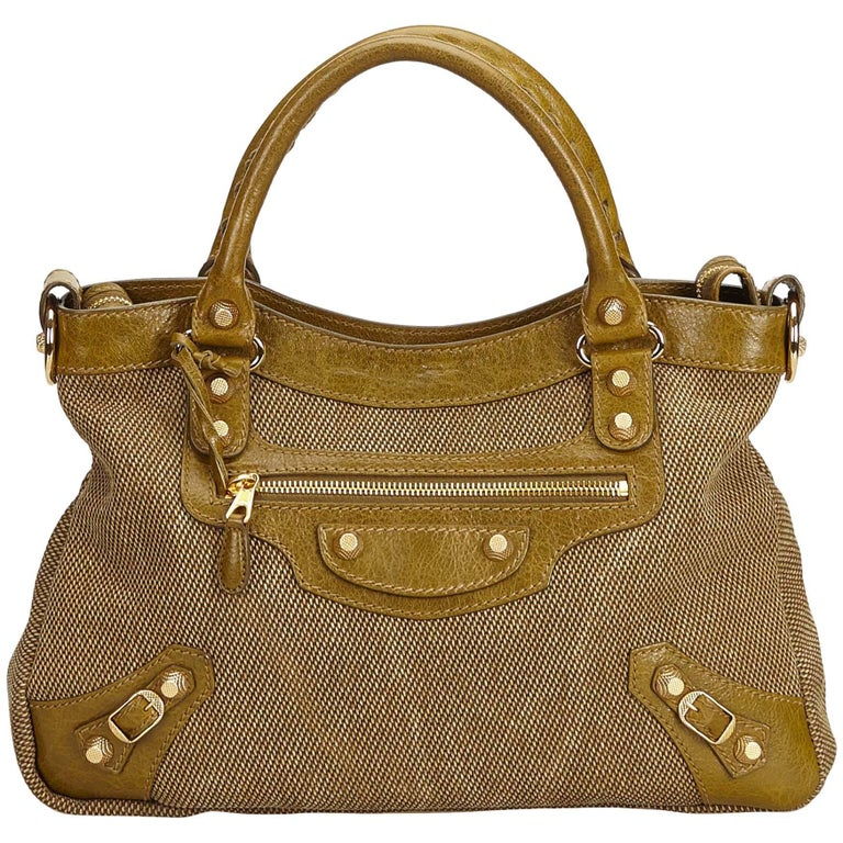 look good shoes sale good selling outlet for sale Balenciaga Brown x Green Motocross Canvas Giant Town Bag