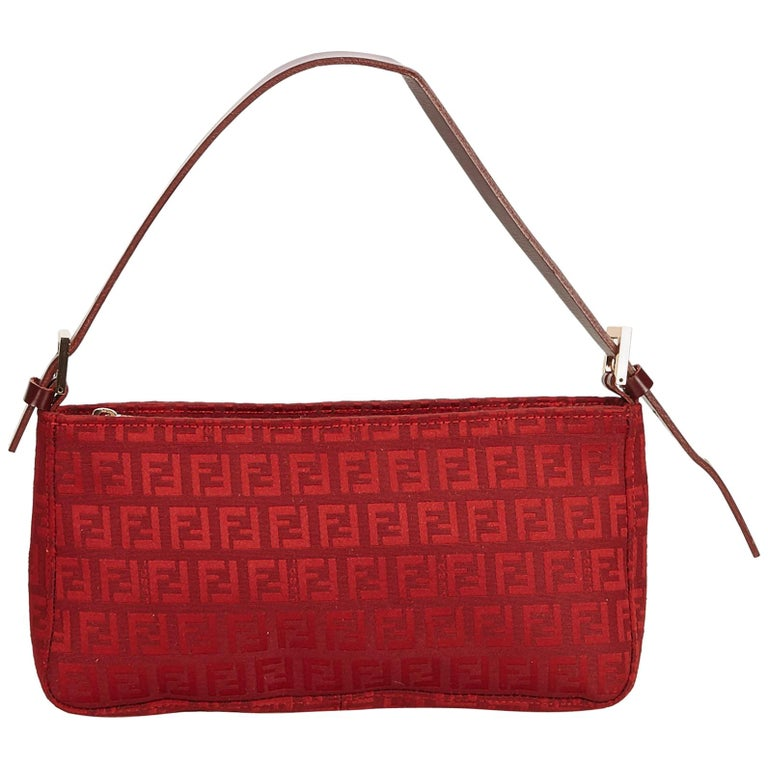 6c54a56db6 Fendi Red Zucchino Canvas Baguette at 1stdibs