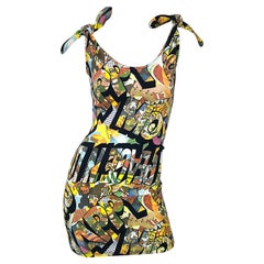 Vintage Moschino 1990s Mickey Mouse Disney Iconic Novelty Print 90s Mini Dress