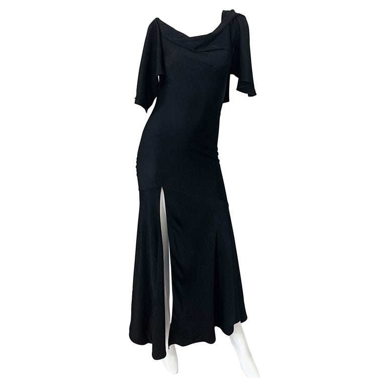 7e77a6f05ac0d John Galliano 2000s Sexy 1930s Style Black One Cold Shoulder 90s Size 6   8  Gown For Sale at 1stdibs