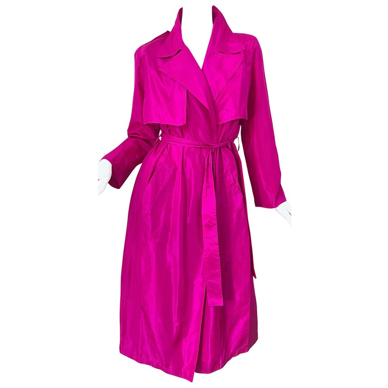 Vintage Vicky Tiel Couture 80s Hot Pink Fuchsia Silk 1980s Trecnch Jacket Dress For Sale