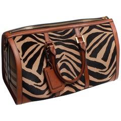 Burberry Prorsum Duffle Bag Brown Zebra Pony Skin Classic Print