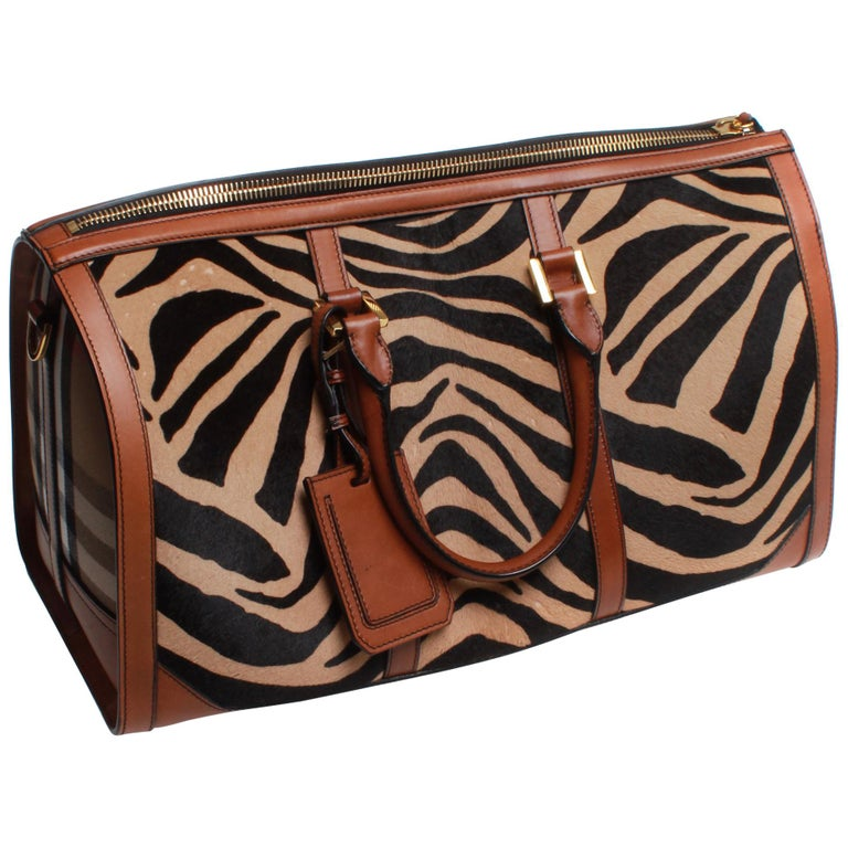 e803a176268a Burberry Prorsum Duffle Bag Brown Zebra Pony Skin and Classic Print For  Sale at 1stdibs