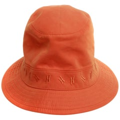 Hermes Orange Bucket Hat embroidered H logo around band