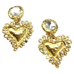 CHRISTIAN LACROIX Vintage Heart Clip-on Earrings in Gilt Metal and Rhinestone