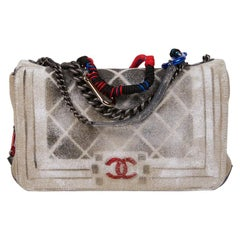 CHANEL Graffiti Boy Bag, Collector Model in Beige Canvas
