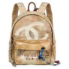 2014 Chanel Beige Painted Canvas Medium Graffiti Backpack