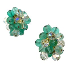 CHANEL Vintage Clip-on Earrings in Green Water and Transparent Molten Glass