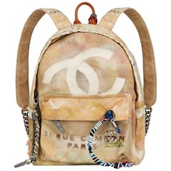 2014 Chanel Beige Painted Canvas Medium Graffiti Backpack