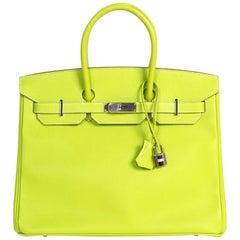 """Hermès Birkin 35 """"Candy Collection"""" Epsom Kiwi & Lichen PHW"""