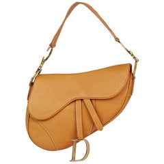 2002 Christian Dior Tan Calfskin Leather Saddle Bag