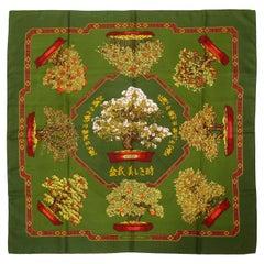 Hermes Vintage Silk Carre Scarf Les Beaux Jours de Bonsai by Catherine Baschet