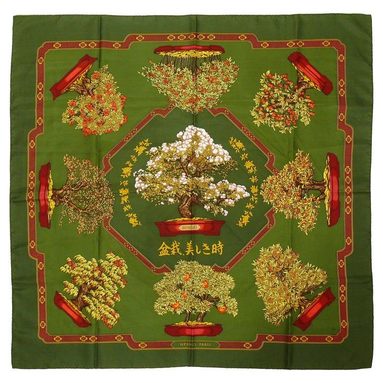 Hermes Vintage Silk Carre Scarf Les Beaux Jours de Bonsai by Catherine Baschet For Sale