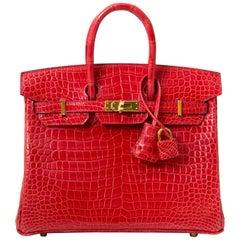 BRAND NEW Hermès Birkin 25 Crocodile Porosus Bougainvillier GHW