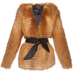 Balmain Long-Sleeve Fox-Fur Jacket