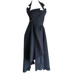 Thierry Mugler 1980's Black Cotton Pique Hi Low Snap Front Dress Size 40