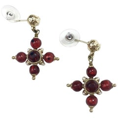 CHANEL Stud Earrings in Gilt Metal, Red and Pearl Beads