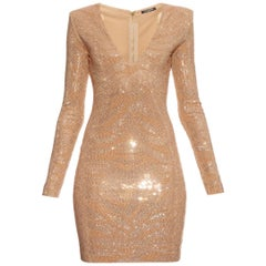 Balmain Metallic Tiger Embellished Mini Dress