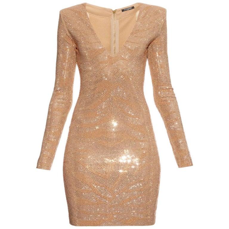 Balmain Metallic Tiger Embellished Mini Dress For Sale