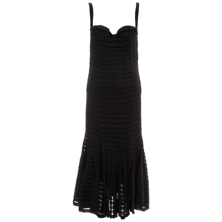 Alexander McQueen Black Silk Chiffon Evening Dress, Fall 2005  For Sale