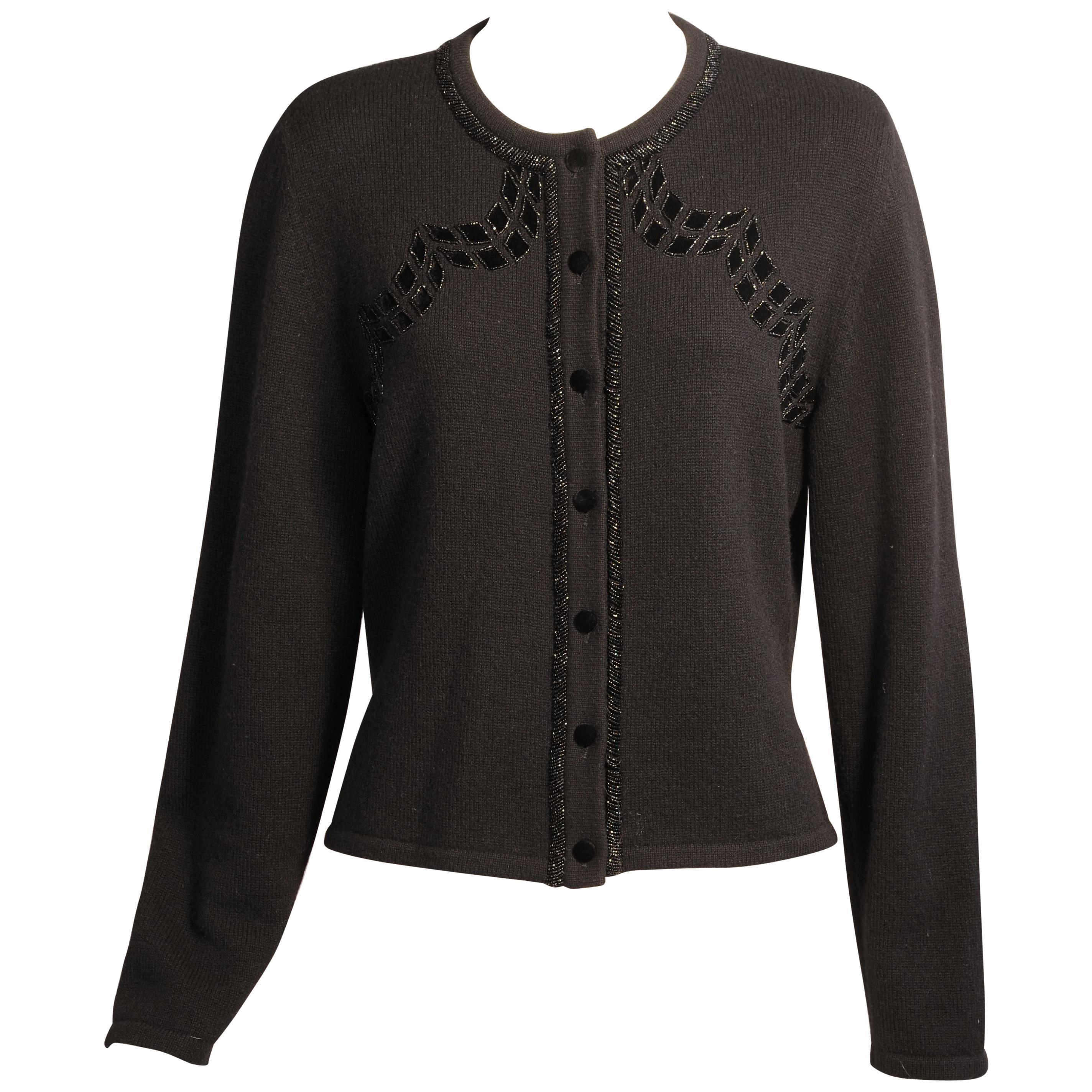 Cardigan Sale Appliqued For Carolina and Herrera Sweater Beaded Cashmere wR8qXZ8