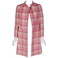 1966 George Halley Couture Pink & Ivory Plaid Wool Tailored Mod Jacket Coat