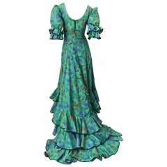 Amazing Vintage Victorian Inspired 1970s Does 1800s Steampunk Green Trained Gown