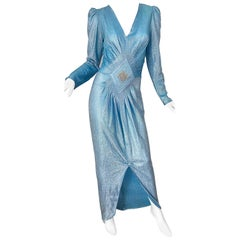 Amazing 1980s Cher Jacque Sky Blue Lurex Rhinestone Vintage 80s Evening Gown