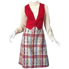 Chic 1960s Pat Sandler Trompe l'Oeil Red White and Blue Vintage 60s A Line Dress