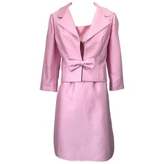 Chic 1960s Pat Sandler Light Pink Vintage 60s Silk Shift Dress and Jacket Suit