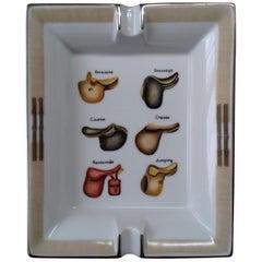 Hermès Printed Porcelain Cigar Ashtray Change Tray Saddles Rodeo Texas RARE