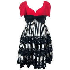 Vintage Adele Simpson Red + Black + White Fit n' Flare Empire Bow Lace Dress