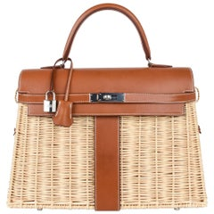 Hermes Picnic Kelly Bag 35 Wicker/Osier Palladium Hardware