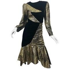 Fabulous 1980s Gold + Black Avant Garde Velvet Lame Long Sleeve 80s Dress