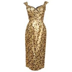 1950's Beaumelle Metallic Gold Floral Lamé Shelf-Bust Fishtail Cocktail Dress