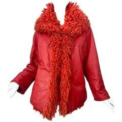 1960s Bonnie Cashin Burnt Orange Mongolian Fur Leather Vintage 60s Swing Jacket