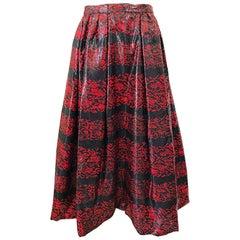 Rare Vintage Tarquin Ebker Couture Red + Black Metallic Threaded Silk Midi Skirt