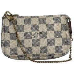 Louis Vuitton Damier Azur Pochette Accessories Mini Wristlet Handbag