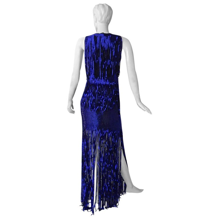a6a66a8bde5 Tom Ford Cobalt Blue Beaded Deco Inspired Evening Dress Gown New! For Sale