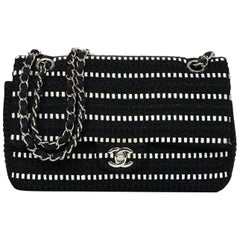 Chanel Black Sparkle/White Tweed Double Flap Bag W/ Silvertone CC Hardware
