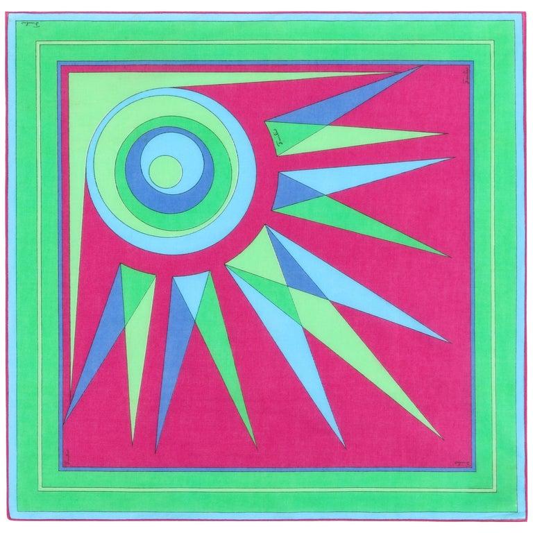 EMILIO PUCCI c.1970's Sunburst Signature Print Square Scarf / Handkerchief NOS For Sale
