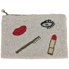 Surrealistic Beaded Eye Lips Cosmetic Bag 1930s
