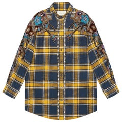Gucci Embroidered Plaid Oversized Shirt