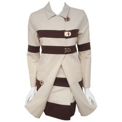 Gucci Ivory Cotton Long Jacket with Brown Wide Stripes Skirt Suit
