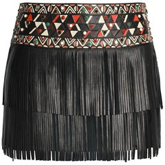 Valentino Fringed Embellished Leather Mini Skirt